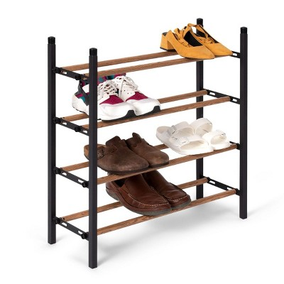 "Juvale Free Standing 4 Tier 24 Pair Shoe Rack Shelf Organizer for Entryway Closet, 24""-45"" Expandable, Black & Oak Grain Metal"