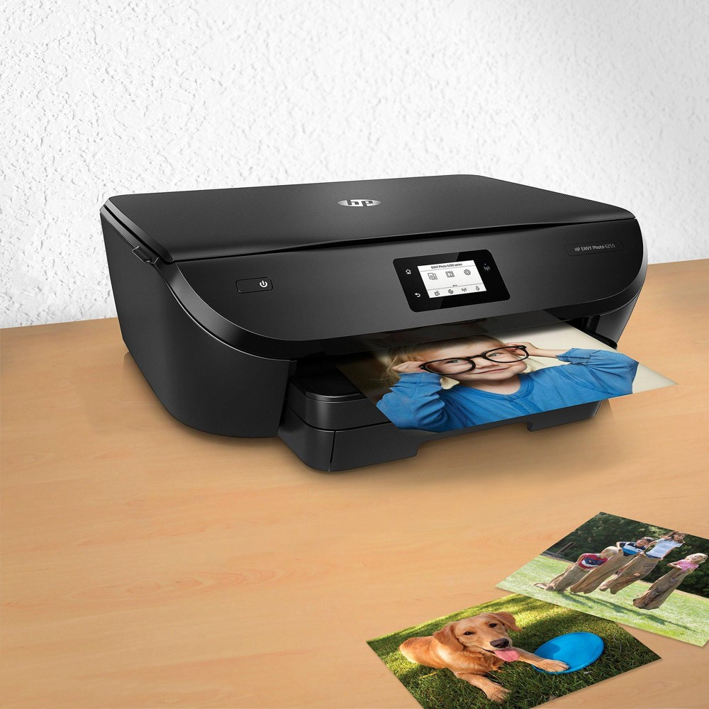 HP Printer Envy Photo 6255 Black K7G18A_B1H Designed for those that love to share photos, the HP Envy Photo 6255 printer allows you to print stunning, true-to-life photos. with a dedicated photo tray and borderless printing, the Envy Photo 6255 has all your photo printing needs covered. Color: Black.