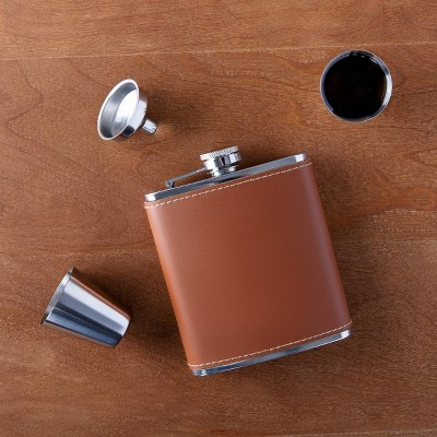 6oz Stainless Steel and Leather Flask Brown - Cathy's Concepts