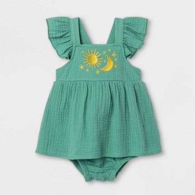 Baby Girls' Gauze Sunsuit - Cat & Jack™ Green 3-6M
