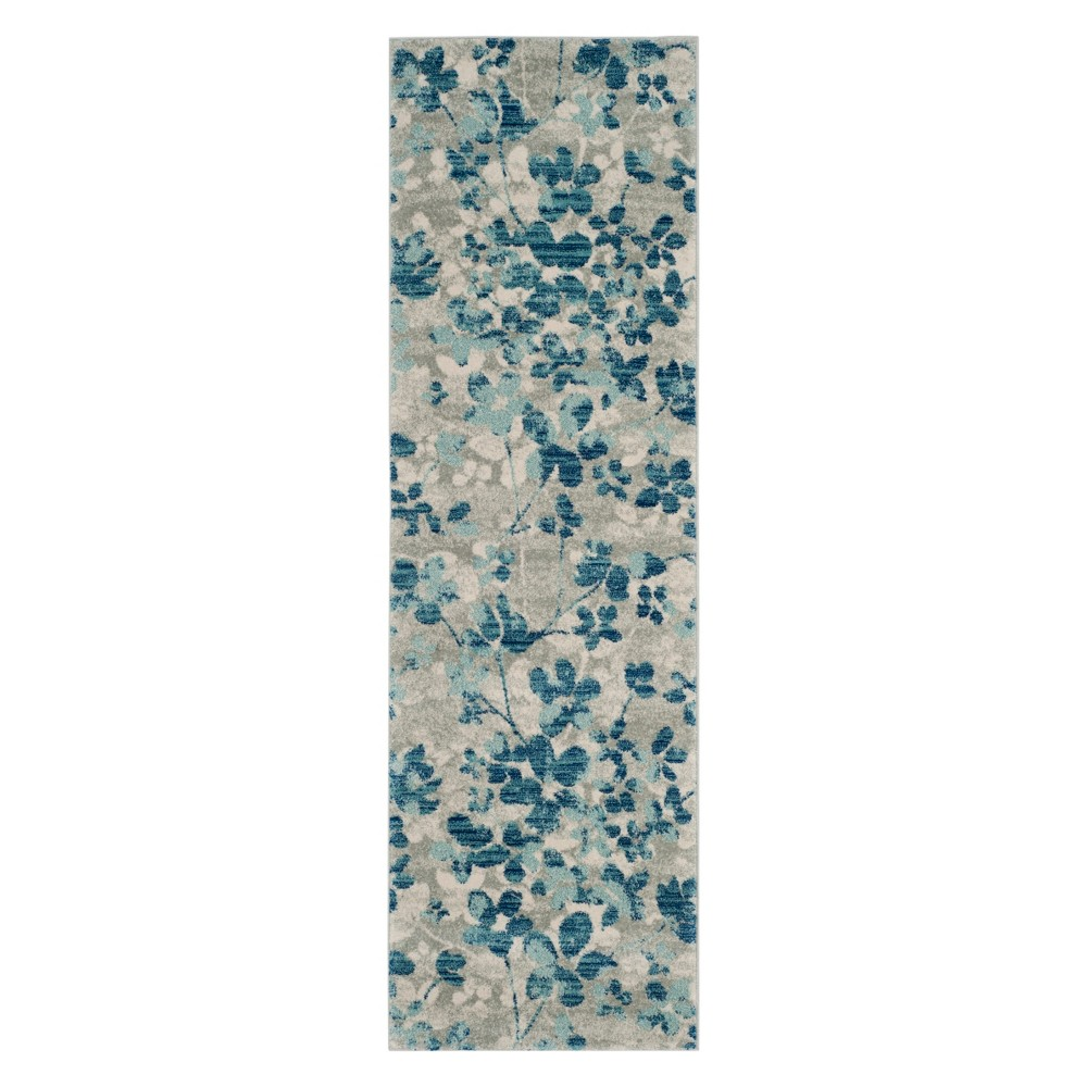 2'2X7' Floral Runner Gray/Light Blue - Safavieh