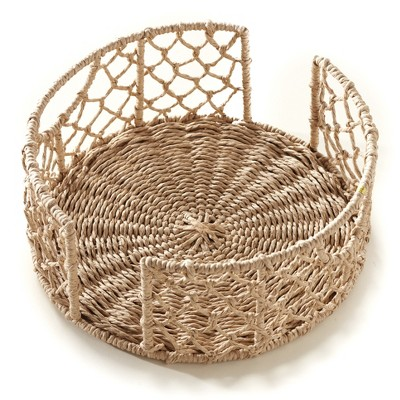 Lakeside Rattan Look Kitchen Plate Caddy with Metal Frame and Side Handles