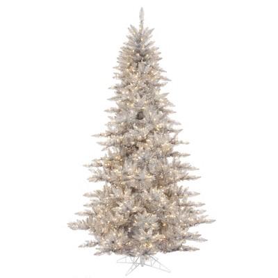 Vickerman Silver Tinsel Fir Artificial Christmas Tree