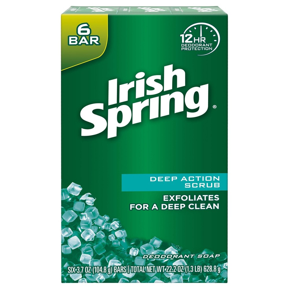Irish Spring Deep Action Scrub Exfoliating Bar Soap For Body And Hand 6pk 3 7oz Each
