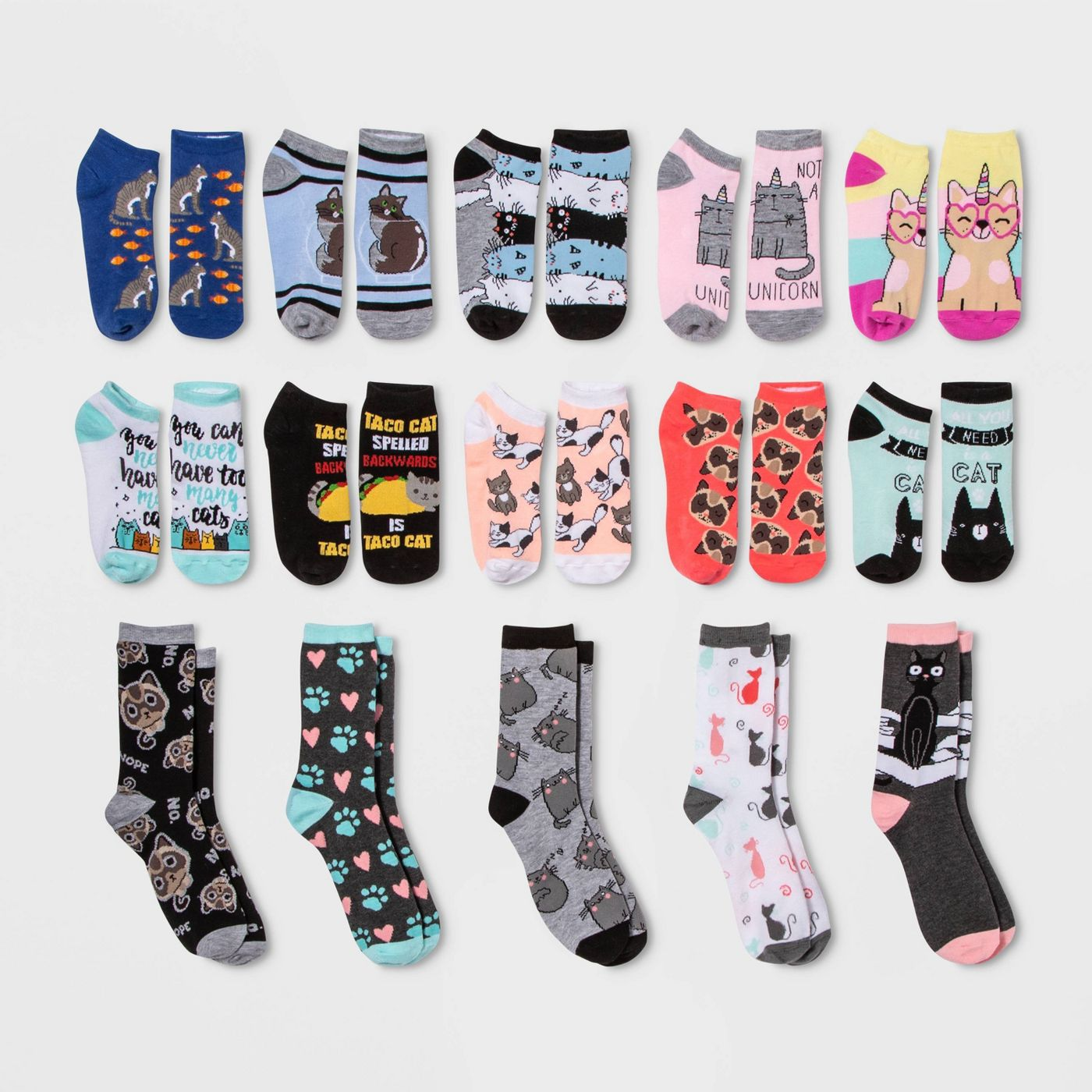 Hyp Women's Cat Lovers 15 Days of Socks Advent Calendar
