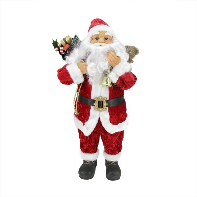 """Northlight 24"""" Traditional Red and White Standing Santa Claus Christmas Figure with Gift Sack"""