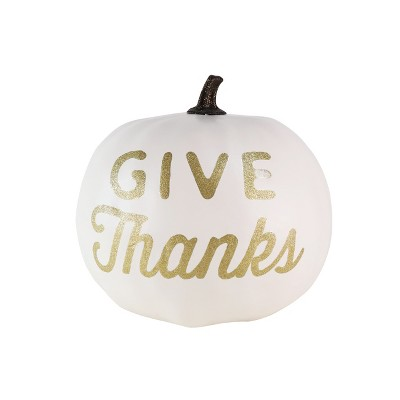Large Harvest Give Thanks Pumpkin Metallic Cream