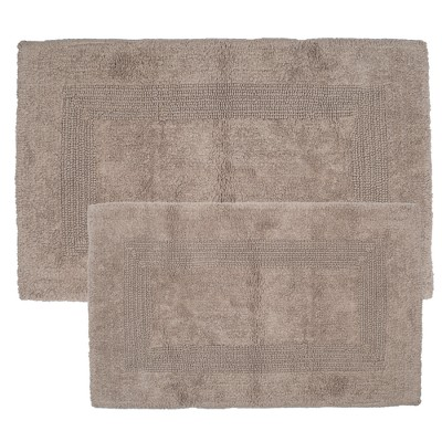 2pc Solid Bath Mat Taupe - Yorkshire Home
