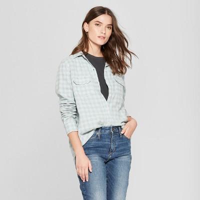 cacbd09f Womens Plaid Long Sleeve Plaid Flannel Shirt - Universal Thread™ Green Plaid  S