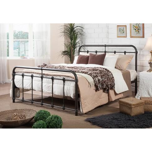 e7063e16ead14 Full Mandy Vintage Industrial Full Size Platform Bed Black Metal Finish - Baxton  Studio