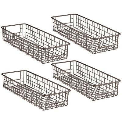 mDesign Bath Metal Storage Organizer Basket - 4 Pack