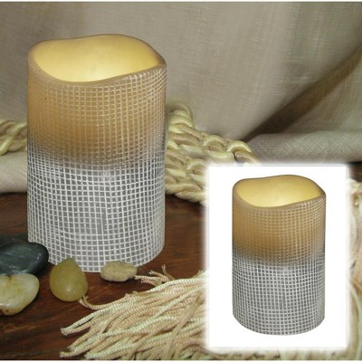 """Brite Star 4"""" Stone Gray Lattice Battery Operated Flameless LED Lighted Flickering Wax Pillar Candle"""