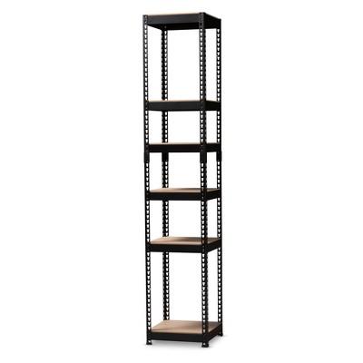 Gavin Metal 5 Shelf Closet Storage Racking Organizer Black - Baxton Studio