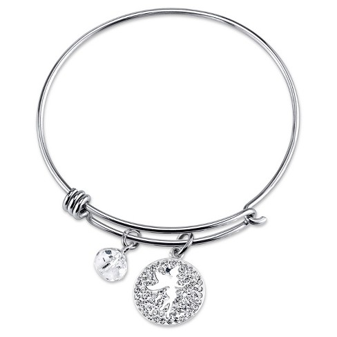 "Women's Stainless Steel Sprinkle a little magic Tinkerbell Crystal Wire Bracelet - Silver (8"") - image 1 of 2"