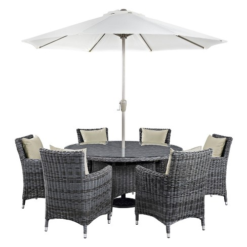 Summon 8pc All-Weather Wicker Square Patio Dining Set & Umbrella with Sumbrella Fabric - Modway - image 1 of 8