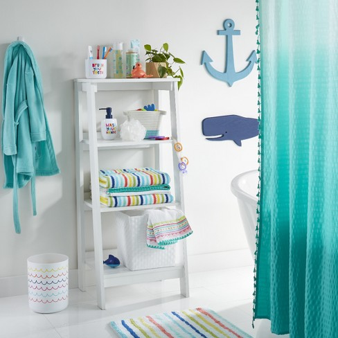 Ombre Seersucker Tassel Shower Curtain - Tropical Green - Pillowfort™ - image 1 of 2