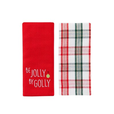 "SKL Home Embroidered Design Seasonal 2-Piece Dish Towel Set - 16x26"", Red/Multi"