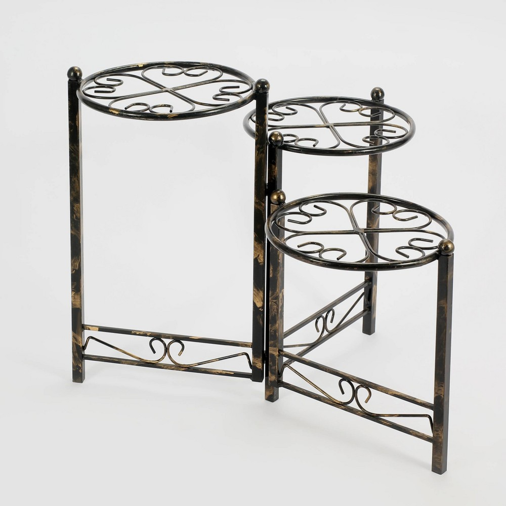 Image of 3 Tier Iron Plant Stand Black/Gold - Ore International