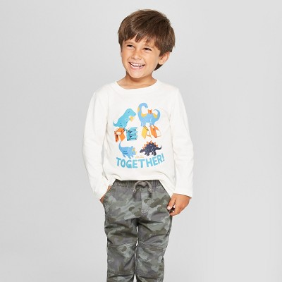 Toddler Boys' Dinosaurs Read Together! Graphic Long Sleeve T-Shirt - Cat & Jack™ Cream 3T