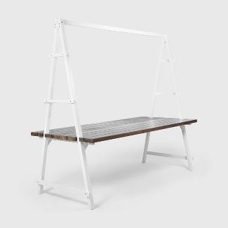 Huckleberry Rectangle Acacia Wood Patio Dining Table with Iron Plant Hanger Dark Brown/White - Christopher Knight Home