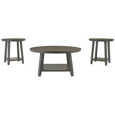 3pc Caitbrook Coffee and End Table Set Gray - Signature Design by Ashley
