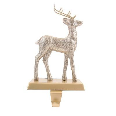 1ct Glitter Deer Christmas Stocking Holder Gold - Wondershop™