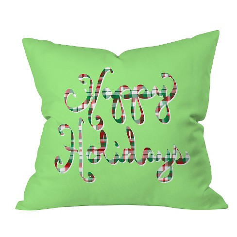 "Green Novelty Lisa Argyropoulos Happy Holidays Throw Pillow (20""x20"") - Deny Designs® - image 1 of 1"