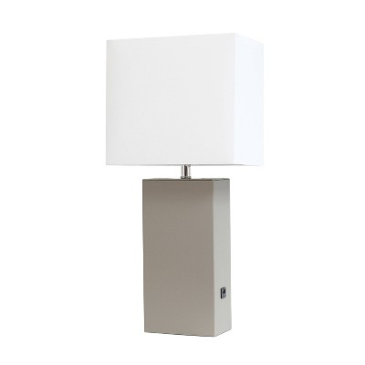Leather Table Lamp with Fabric Shade Gray - Elegant Designs