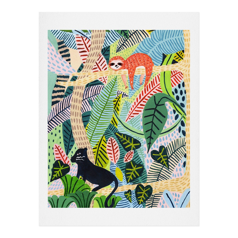 "Image of ""11"""" x 14"""" Ambers Textiles Jungle Sloth and Panther Wall Art Print Green - society6"""
