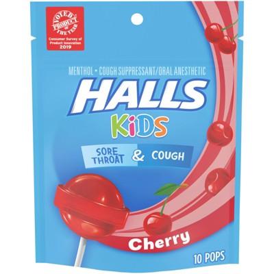 Halls Kids Sore Throat & Cough Pops - Cherry - 10ct