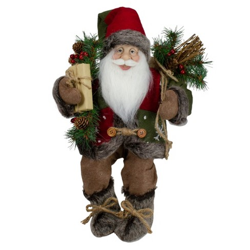 "Northlight 16"" Country Rustic Sitting Santa Claus Christmas Figure with Felt and Knitted Snowflake Jacket - image 1 of 4"