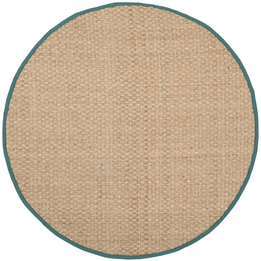 8' Solid Loomed Round Area Rug Natural/Light Blue - Safavieh
