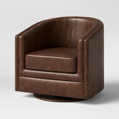 Ordinaire Berwick Barrel Swivel Chair Faux Leather Brown   Threshold™
