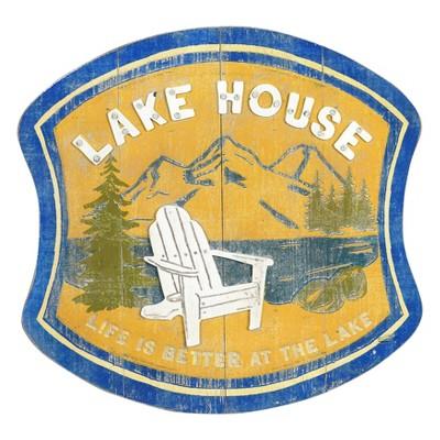 "15"" x 15.5"" 3D Wood and Metal ""Lake House"" Wall Decor - 3R Studios"