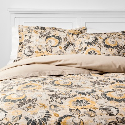 Full/Queen October Jacobean Duvet Cover Set Neutral - Threshold™