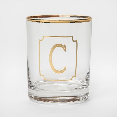 Monogram Double Old Fashioned Glass with Gold Rim 14oz - C - Threshold™
