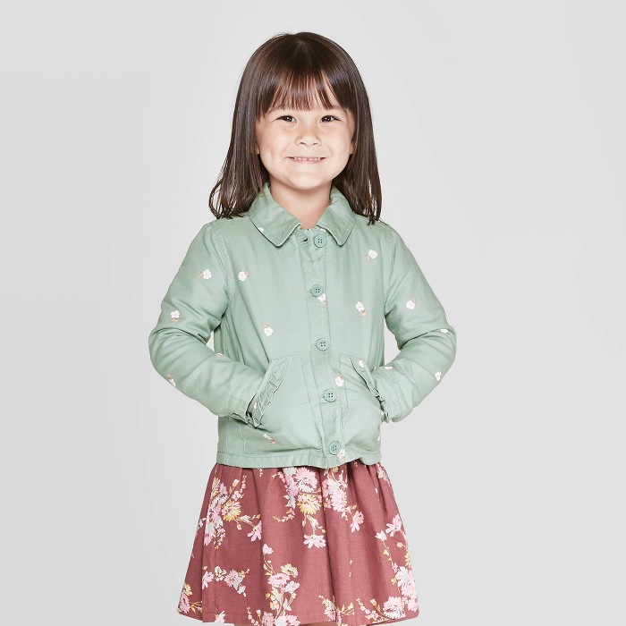 OshKosh B'gosh Toddler Girls' Floral Jacket - Green - image 1 of 3