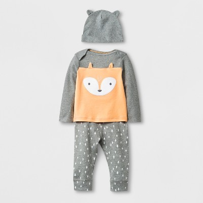 Baby Boys' 3pc Bodysuit Set with Hat - Cloud Island™ Gray 0-3M