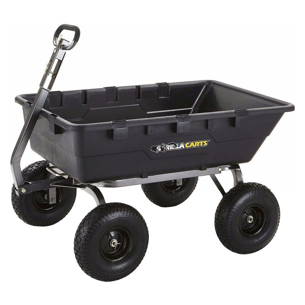 Gorilla Carts Extra Heavy-Duty Poly Dump Cart with 2-in-1 Convertible Handle, 1500-Pound Capacity, Black