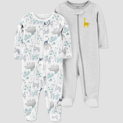 Baby Boys' 2pk Safari Sleep N' Play - Just One You® made by carter's Gray Newborn