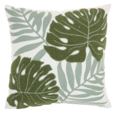 """18""""x18"""" Life Styles Embroidered Leaves Throw Pillow Green - Mina Victory : Target"""