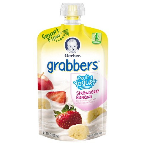 Gerber Grabbers Fruit Squeezable Puree Pouch Apple Strawberry Banana - 4.23oz - image 1 of 2