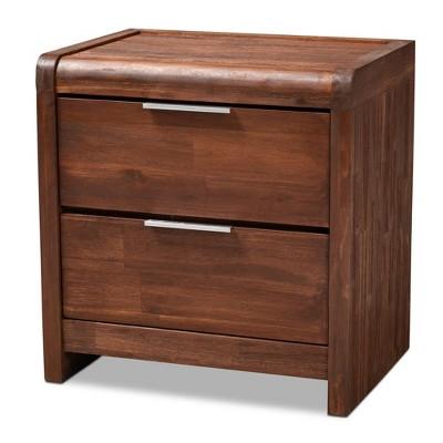 Torres 2 Drawer Wood Nightstand Brown/Silver - Baxton Studio