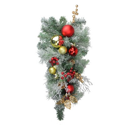 "Northlight 24"" Unlit Red/Gold Flocked Artificial Christmas Teardrop Swag"