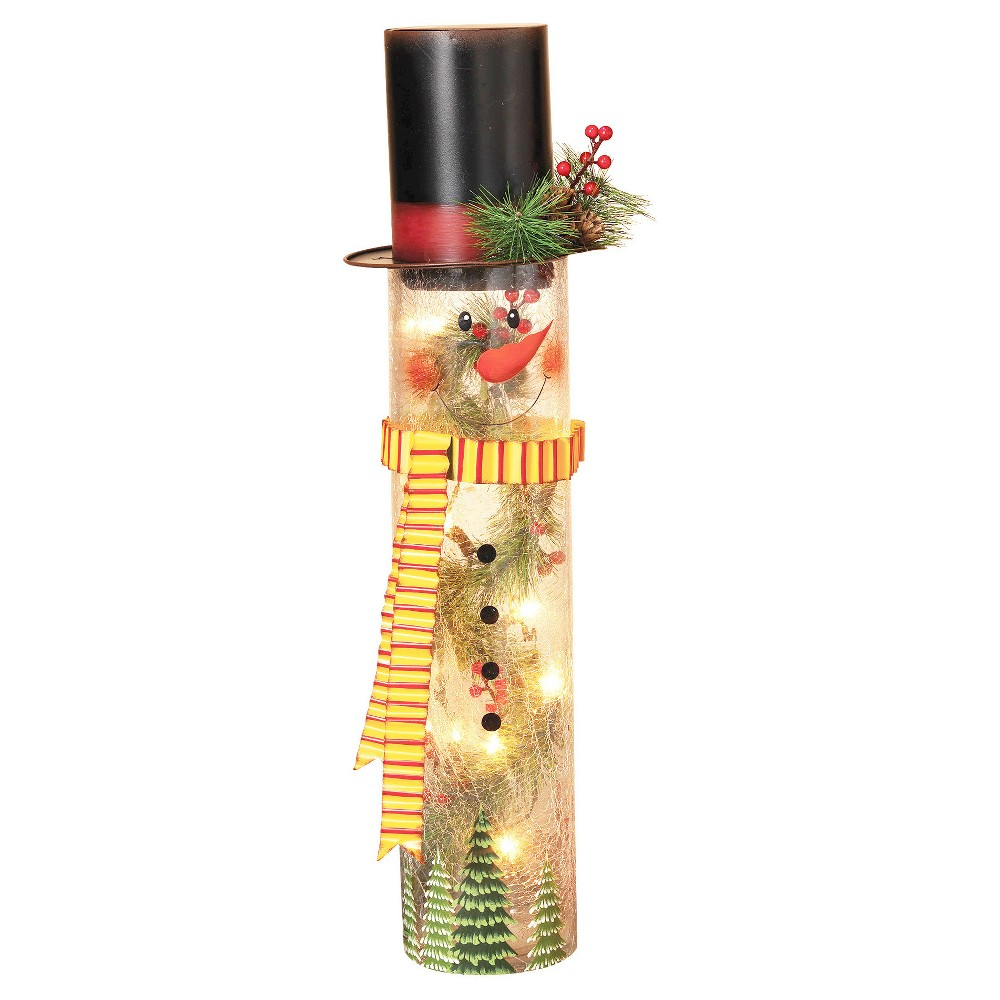 20.5 Led Electric Lighted Glass Snowman With Wood Top Hat, Clear