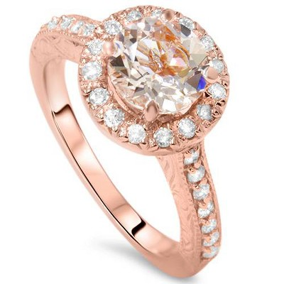 Pompeii3 2 ct Vintage Morganite & Diamond Ring 14K Rose Gold