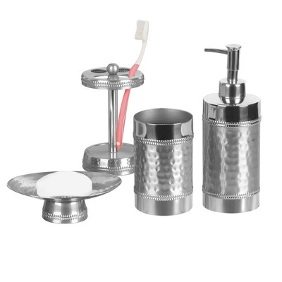 Hudson Metal Bath Accessory Set for Vanity Counter Tops - Nu Steel