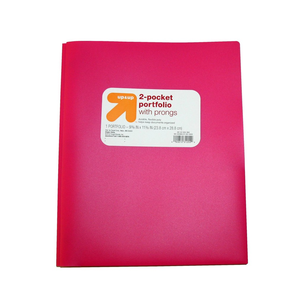 2 Pocket Plastic Folder with Prongs Pink - Up&Up was $0.75 now $0.5 (33.0% off)