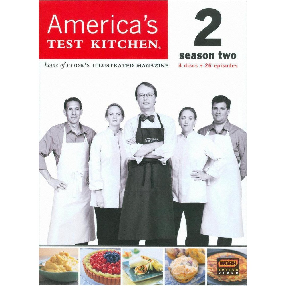 America's Test Kitchen Season 2 (Dvd) From the test kitchens of Cook's Illustrated magazine comes this straightforward cooking show for smart home chefs. Each episode offers sensible reviews of kitchen equipment and clear, insightful lessons on how to prepare everything from soups to steak. This season-two collection features 26 complete episodes, including  Spaghetti and Meatballs,   Pizza Night,   Middle Eastern Barbecue,  and  Christmas Dinner.