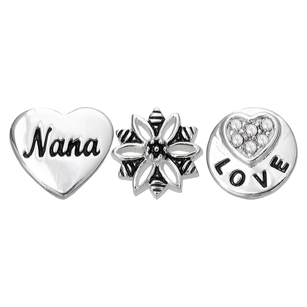 Treasure Lockets 3 Silver Plated Charm Set With 34 Nana Love You Always 34 Theme Silver